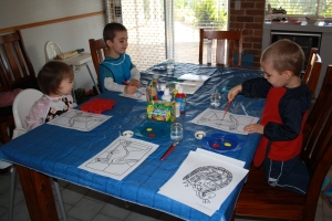 Kids painting their Kangaroo Aboriginal Dot Painting