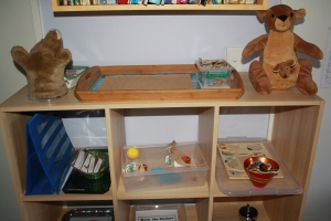 Top shelf: Kangaroo puppet, map of Australia puzzle & Kangaroo with joey (I Love this toy) Next shelf: Kangaroo Montessori matching cards, Kangaroo free play diorama and Australian Animal puzzle